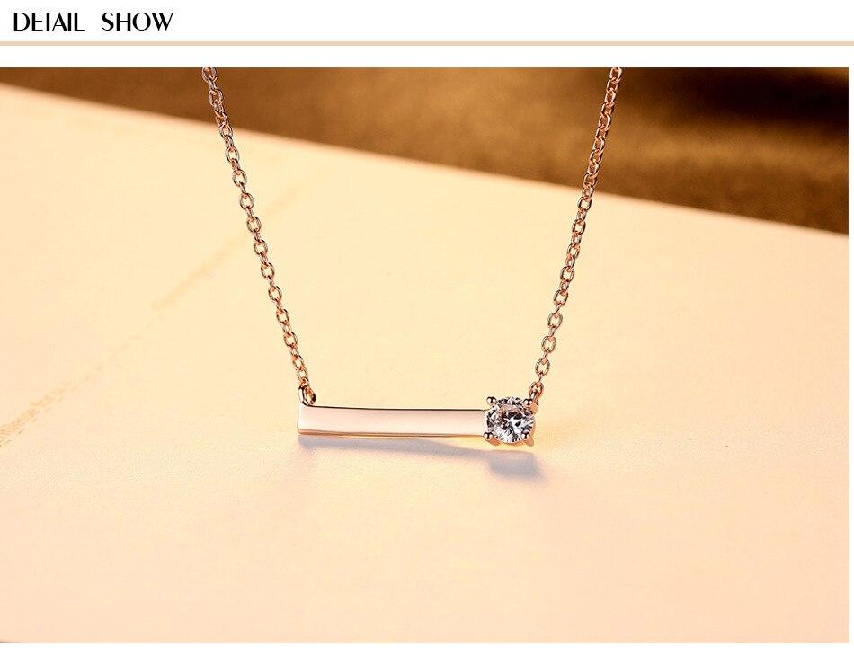 zircon simple S925 sterling silver necklace clavicle chain fashion accessories LBM09zircon simple S925 sterling silver necklace clavicle chain fashion accessories LBM09