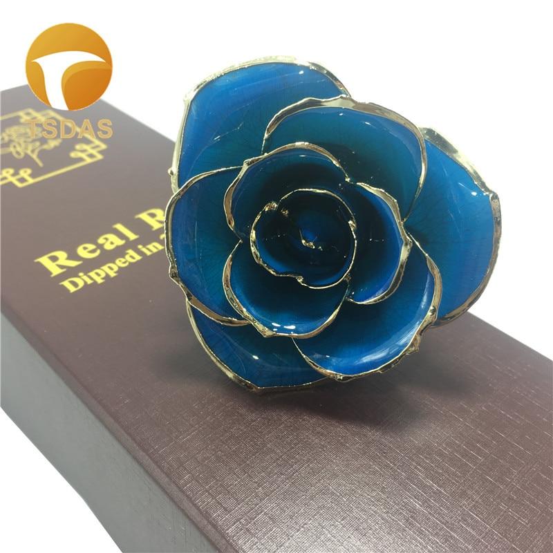 Aliexpress Com Buy Wr Romantic Rose 24k Gold Dipped: Romantic Rose 24k 999.9 Gold Plated Rose With Blue Color