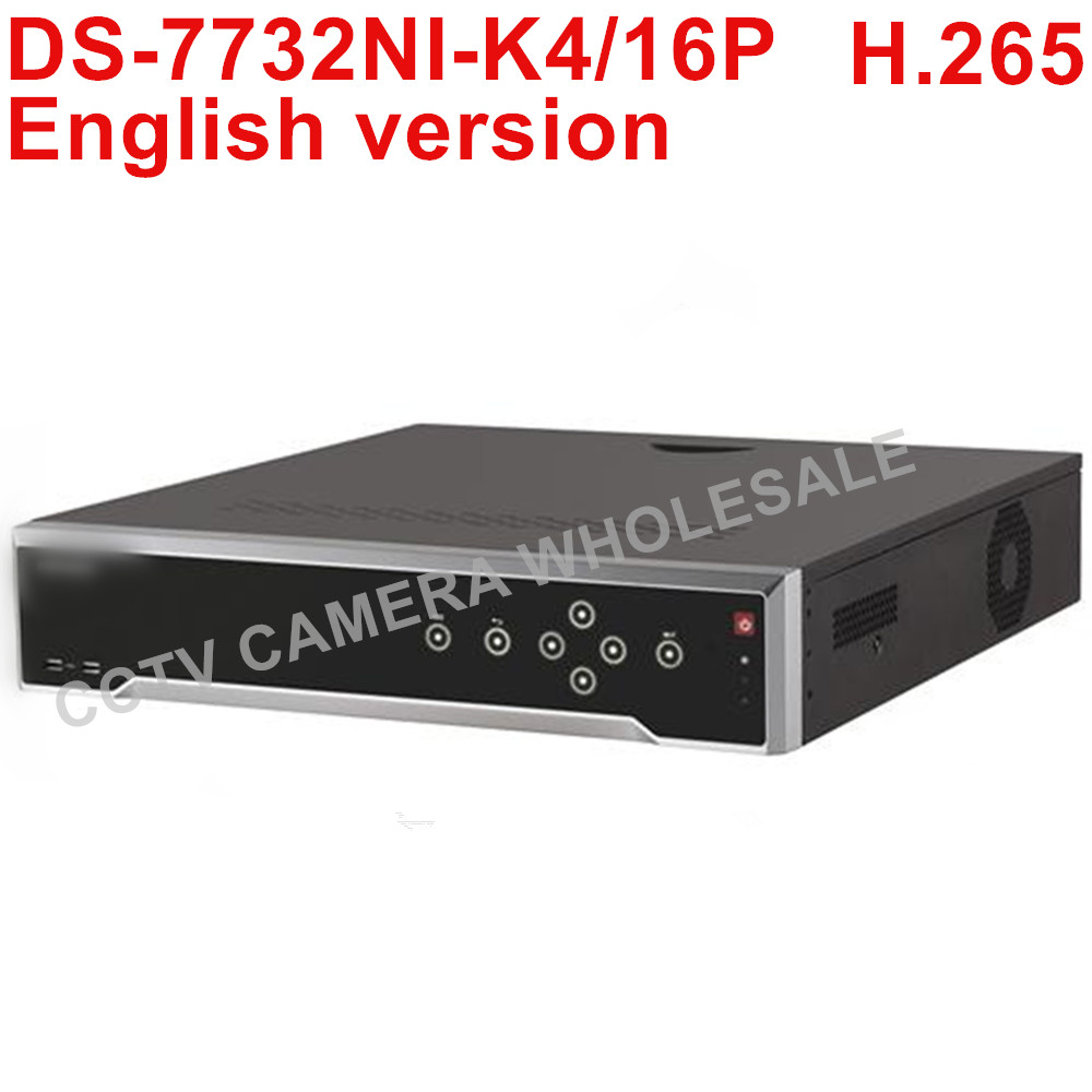 Free shipping Hikvision NVR DS-7732NI-K4/16P English version 32CH 4K NVR with 4 SATA and 16 POE,alarm up to 8 MP camera H.265 hikvision ds 7716ni i4 ds 7732ni i4 12mp 16ch 32ch nvr security surveillance digital video recorder onvif protocol 4 hdd ports
