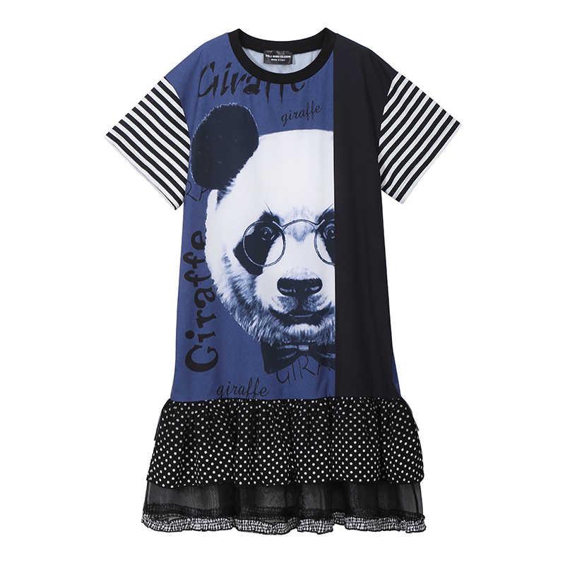 Новое 2019 Европейское модное женское летнее черное платье с принтом животных панды женское оборки в горошек женское Повседневное платье миди 4951