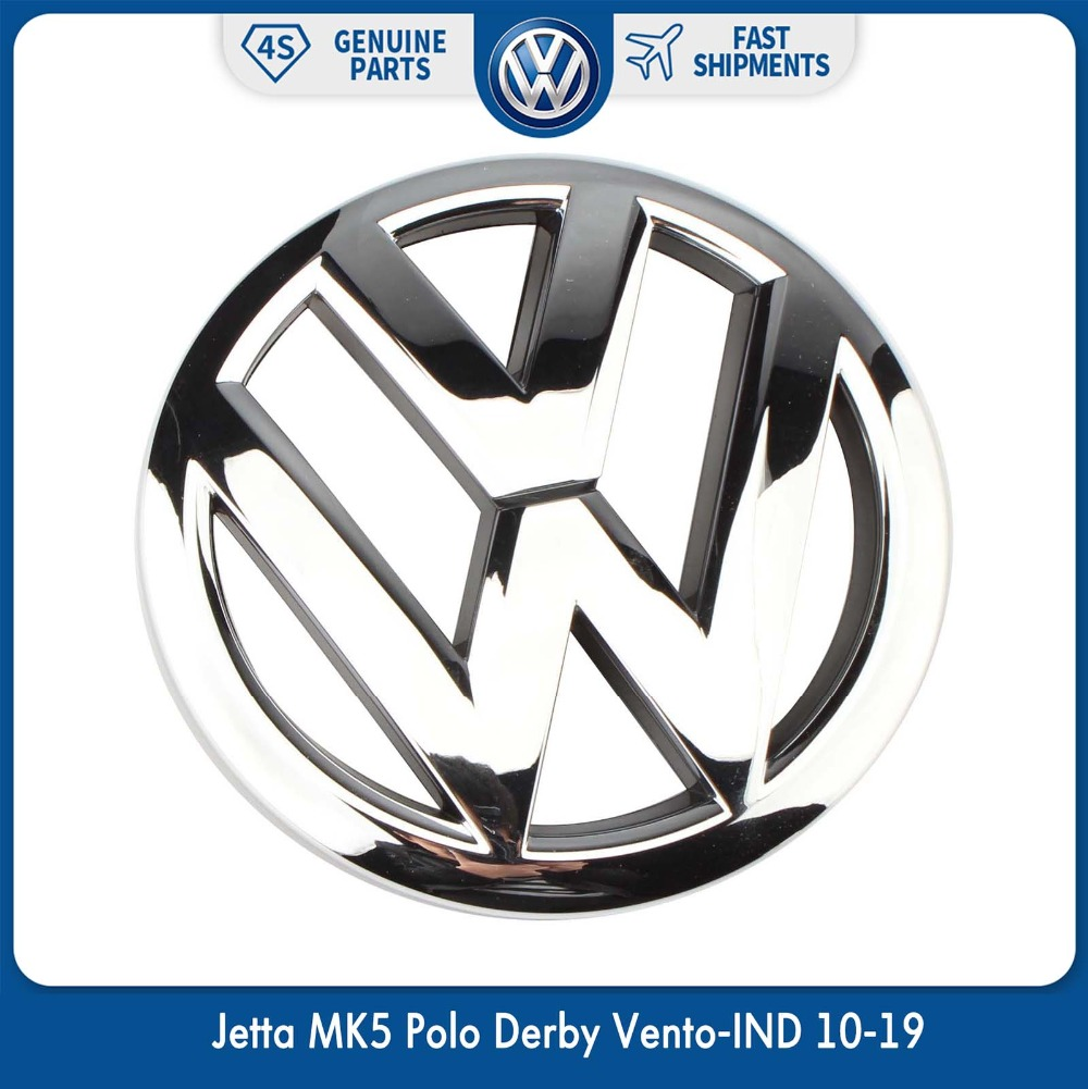 OEM 120 مللي متر الجبهة مصبغة شواء شعار كروم شارات لوجو ل Volkswagen VW جيتا MK5 بولو ديربي Vento-IND 10-19 6R0 853 600 A ULM