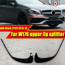 2PCS ABS Black Car Styling Bumper Upper Lip Splitters Fits For Mercedes Benz W176 A Class A180 A200 A250 A45AMG look 2016-2018 цена