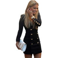 Autumn Women Dress Slim Long Sleeve Deep V Buttons Casual Bodycon Mini Dress Europe And The