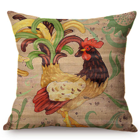 Colorful Cock Oil Painting Art Chicken Rooster Throw Pillow Cover Home Decorative Cotton Linen Sofa Cushion Cover Car Pillowcase M093-7