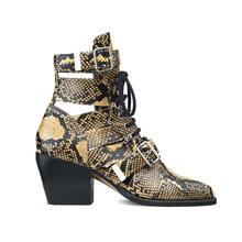 Macvise Brand Design Snake Skin Genuine Leather Boots Woman Pointed Toe High Heels Ankle Boots Buckle Lace Up Women Boots(China)