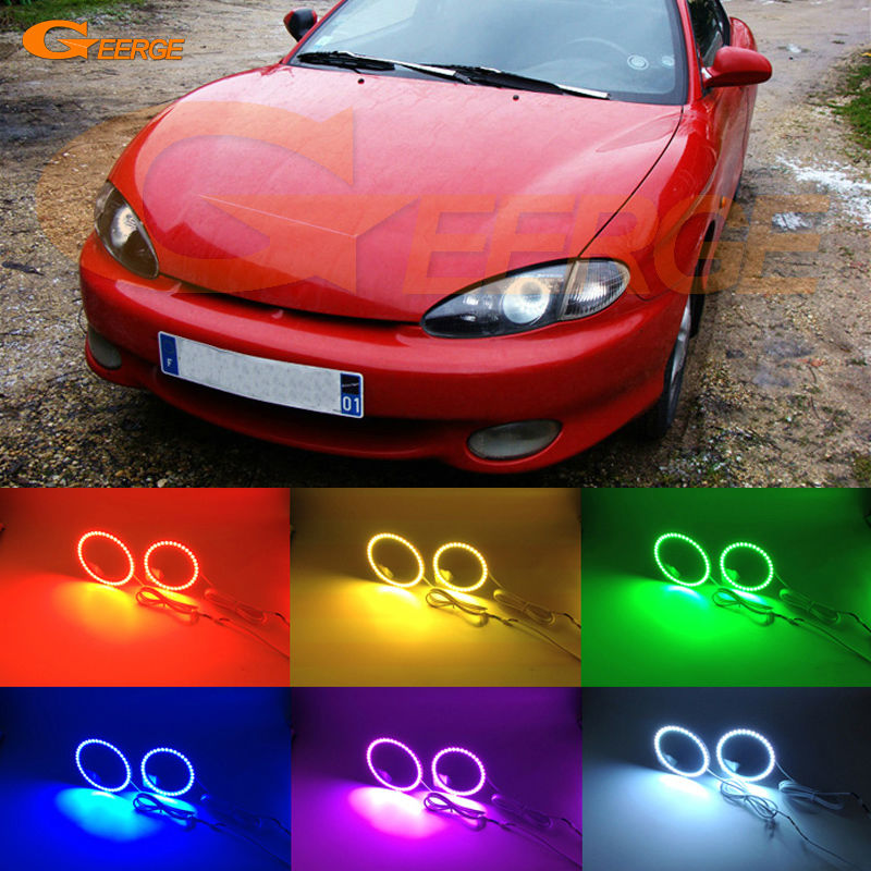 For Hyundai Tiburon Coupe RD1 J2 F2 1996-1999 Excellent Angel Eyes Multi-Color Ultra bright RGB LED Angel Eyes kit Halo Rings frees shipping new arrived mini pinpointing hand held waterproof pointer metal detector pinpointer detector