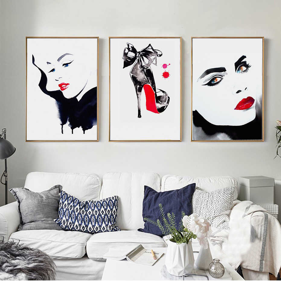 Beautiful Girl Red Lips High Heels Poster Modern A4 Prints Nordic Style Fashion Canvas Wall Art Paintings Living Room Home Decor