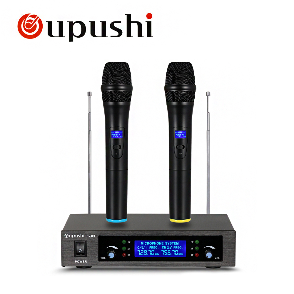 buy oupushi wireless microphones professional microphone with receiver uhf. Black Bedroom Furniture Sets. Home Design Ideas
