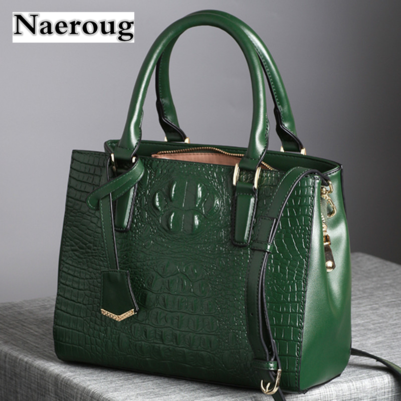 Quality Guaranteed Fashion Crocodile Pattern Women Genuine Leather Handbag Designer Ladies