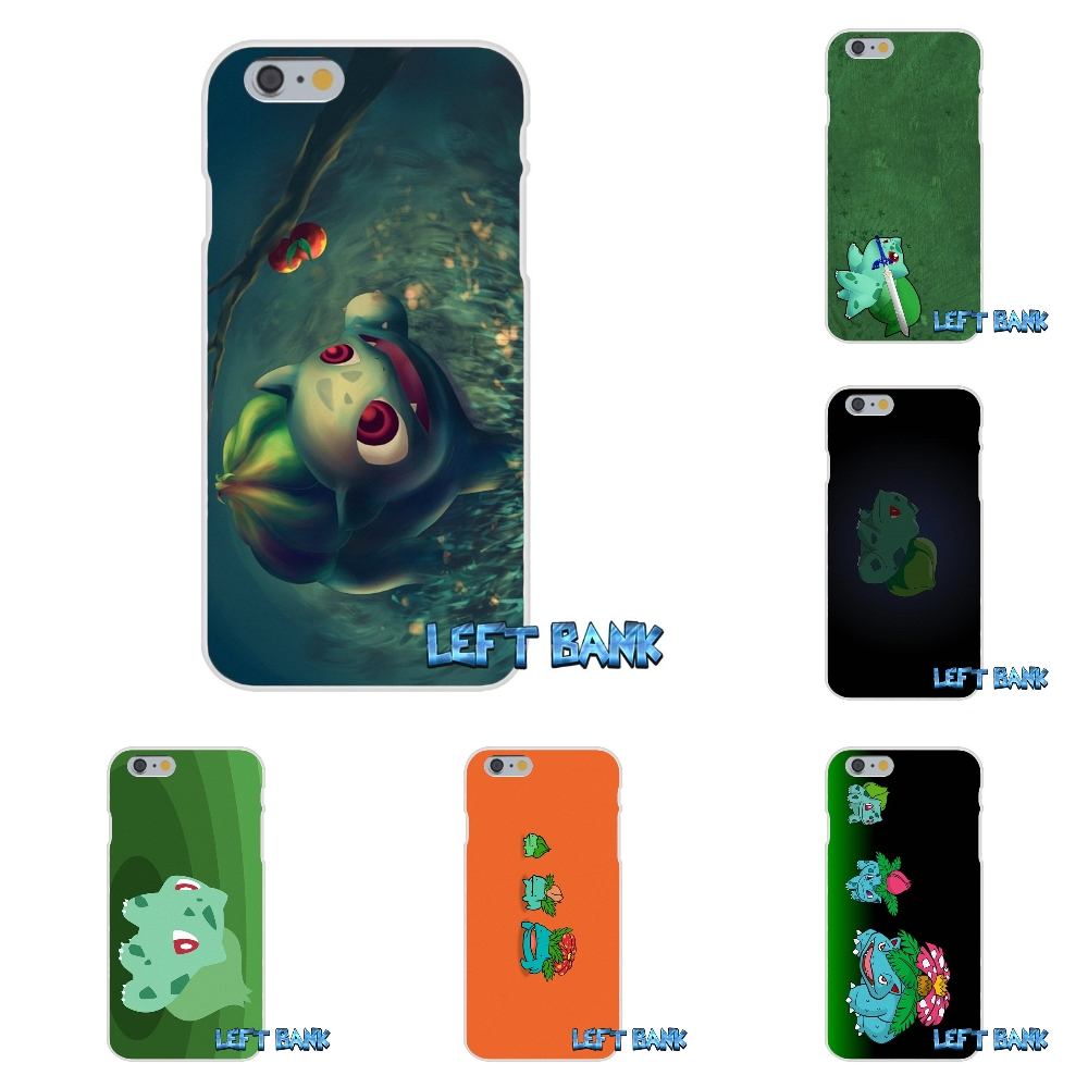 For iPhone 4 4S 5 5S 5C SE 6 6S 7 Plus Pokemons Bulbasaur Soft Silicone TPU Transparent Cover Case