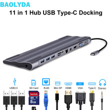 Baolyda USB-C Dock Thunderbolt 3 Adapter 11in1 Type C Hub with HDMI RJ45 VGA USB3.0 All in one Hub for MacBook & C-type Laptop(China)