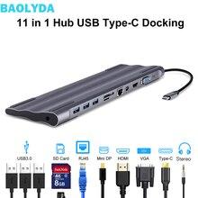 Baolyda USB C Dock Thunderbolt 3 Adapter 11in1 typu C Hub z HDMI RJ45 VGA USB3.0 wszystko w jednym Hub do macbooka i typu C na laptopa