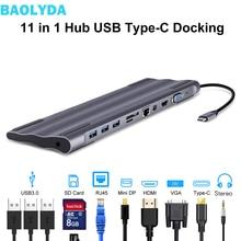 Baolyda USB C док станция Thunderbolt 3 адаптер 11в1 Тип C концентратор с HDMI RJ45 VGA USB3.0 все в одном концентратор для MacBook и C Type ноутбука