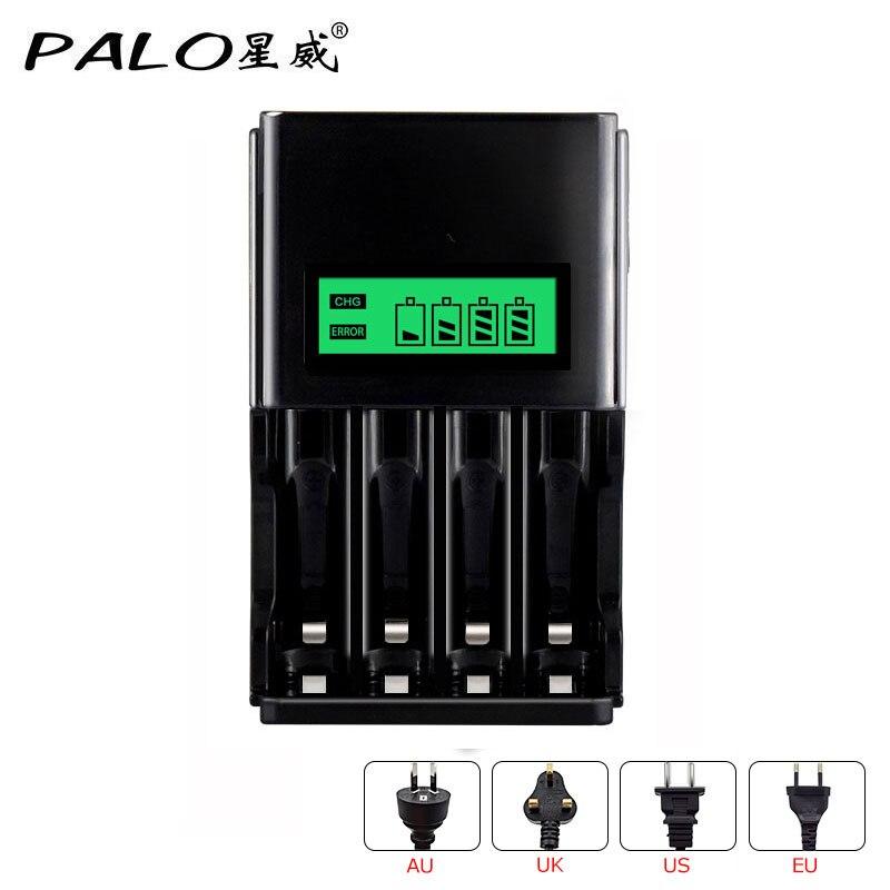 Palo 4 Slots AA AAA NIMH NICD LCD Display Intelligente Batterie ladegerät mit EU AU US UK stecker