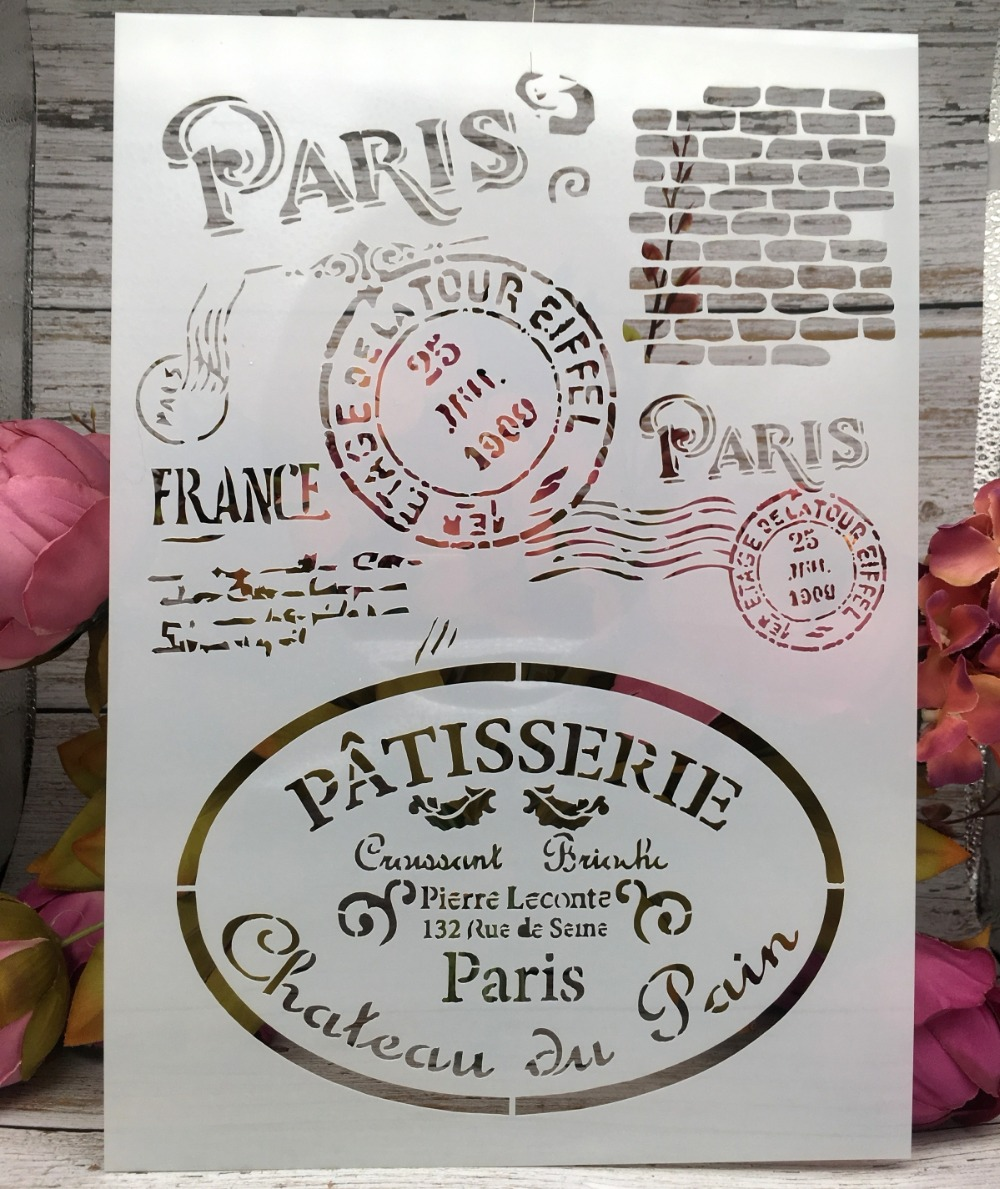 A4 Paris Post Stamp DIY Layering Stencils Wall Painting Scrapbook Coloring Embossing Album Decorative Paper Card Template