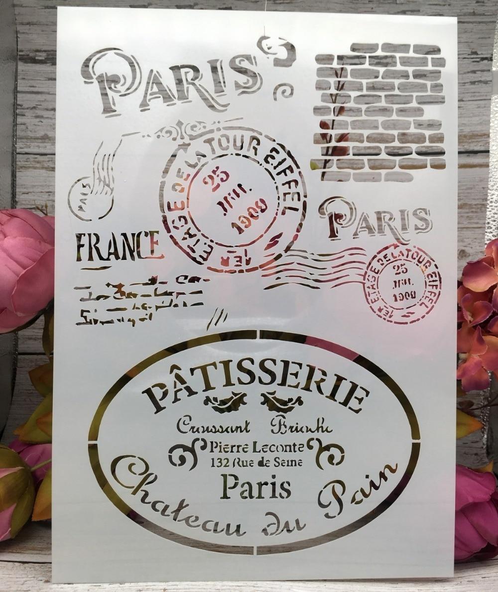 A4 Paris Post Stamp DIY Layering Stencils Wall Painting Scrapbook Coloring Embossing Album Decorative Paper Card Template