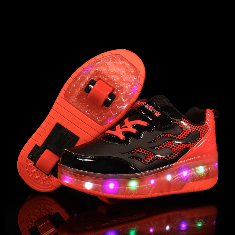 Two Wheels Pink Red Luminous Sneakers Led Light Roller Skate Shoes for Children Kids Led Shoes Boys Girls Shoes Light Up Unisex