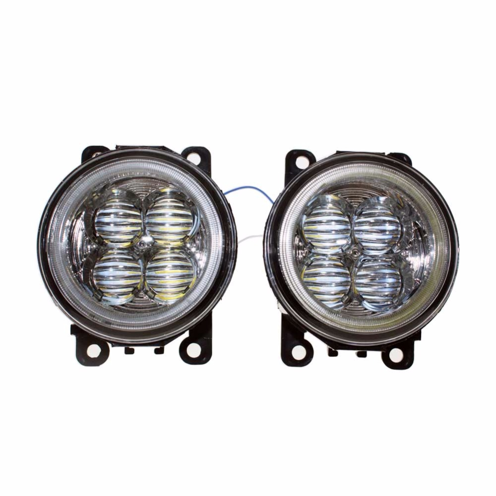 For Renault LOGAN Saloon LS 2004 2014 2015 Car Styling Bumper Angel Eyes LED Fog Lamps DRL Daytime Running Fog Lights OCB Lens