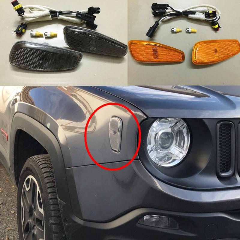 per Jeep Renegade 2015 2016 2017 2Pcs Indicatore Laterale Luci A LED Girare Coperchio della Lampada Cavo Segnale Indicatore W //