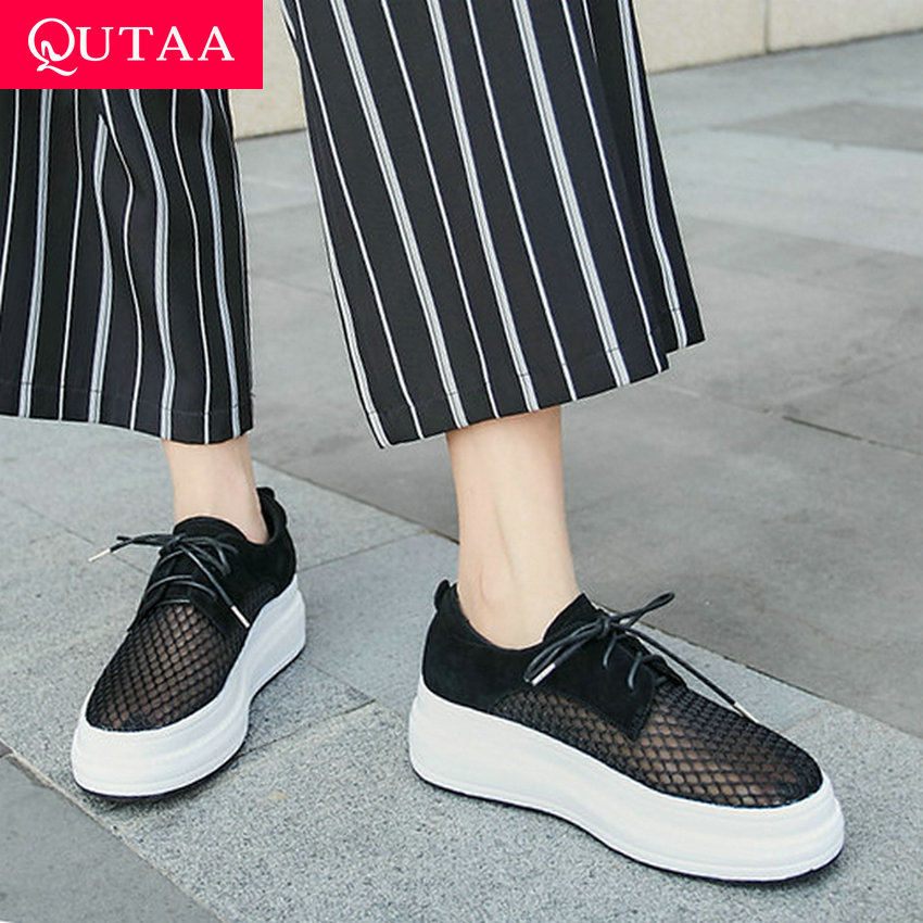 QUTAA 2019 Women Shoes Kid Suede+Mesh Surface Wedges Middle Heel Lace Up Round Toe Thick Bottom Ladies Single Shoes Size 34-39QUTAA 2019 Women Shoes Kid Suede+Mesh Surface Wedges Middle Heel Lace Up Round Toe Thick Bottom Ladies Single Shoes Size 34-39