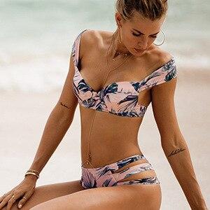 Женский комплект бикини с пуш-апом Maillot De Bain, купальный костюм с принтом, пляжная одежда на косточках, лето 2018
