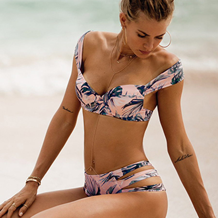 Maillot De Bain Femme Sexy Bikinis Set 2018 Summer Push Up Bikini Print Swimwear Beach Wear With Underwire Biquini 2017 plus size women bikinis set brazilian floral print sexy push up swimwear beachwear bathing suits maillot de bain femme