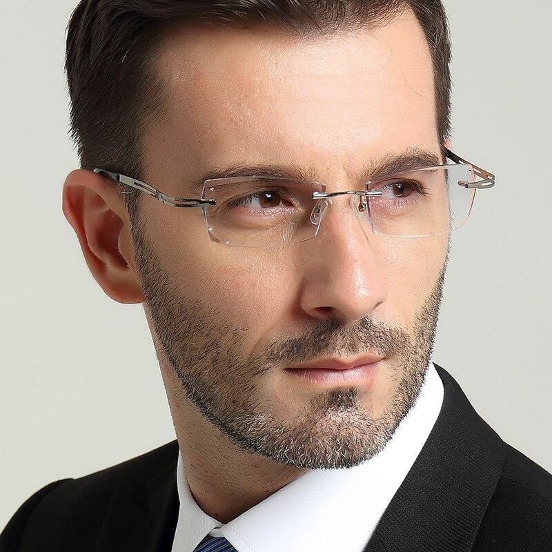 Mens eyewear prescription diamond trimming glasses frame rimless eye ultralight titanium Finished 78
