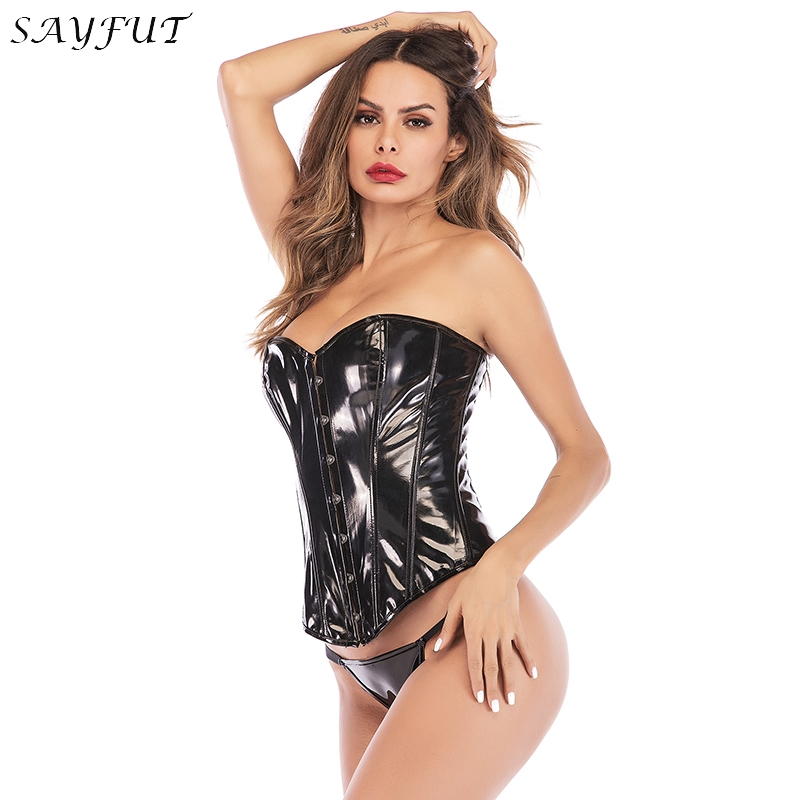 PVC   Corset   Women Lace up Boned Overbust Steampunk Gothic Wasit Trainer   Corsets     Bustiers   Body Control Push up Breast Wrap Top