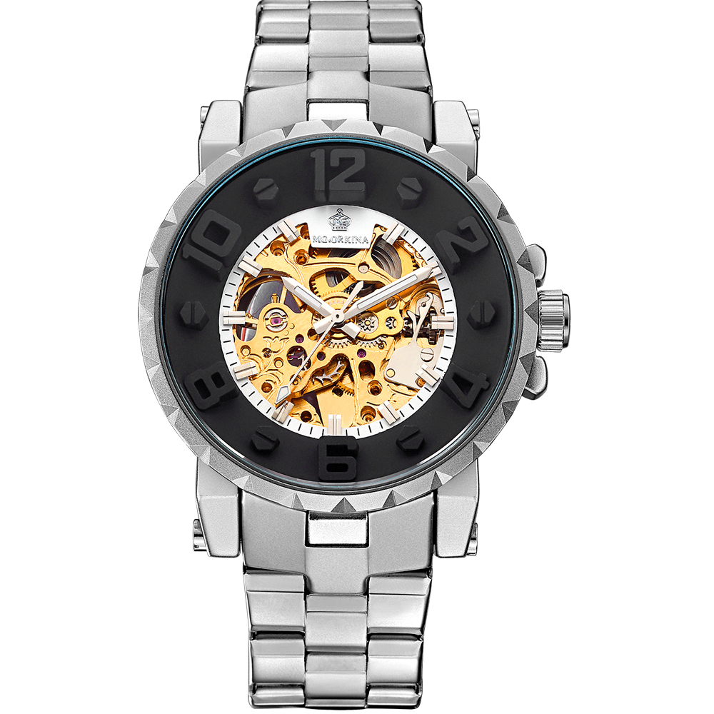 ORKINA Men Wristwatch Golden Skeleton Clock Mechanical Male Wrist Watch Black Relogio Masculino Automatic Winner Zegarek Meski Наручные часы