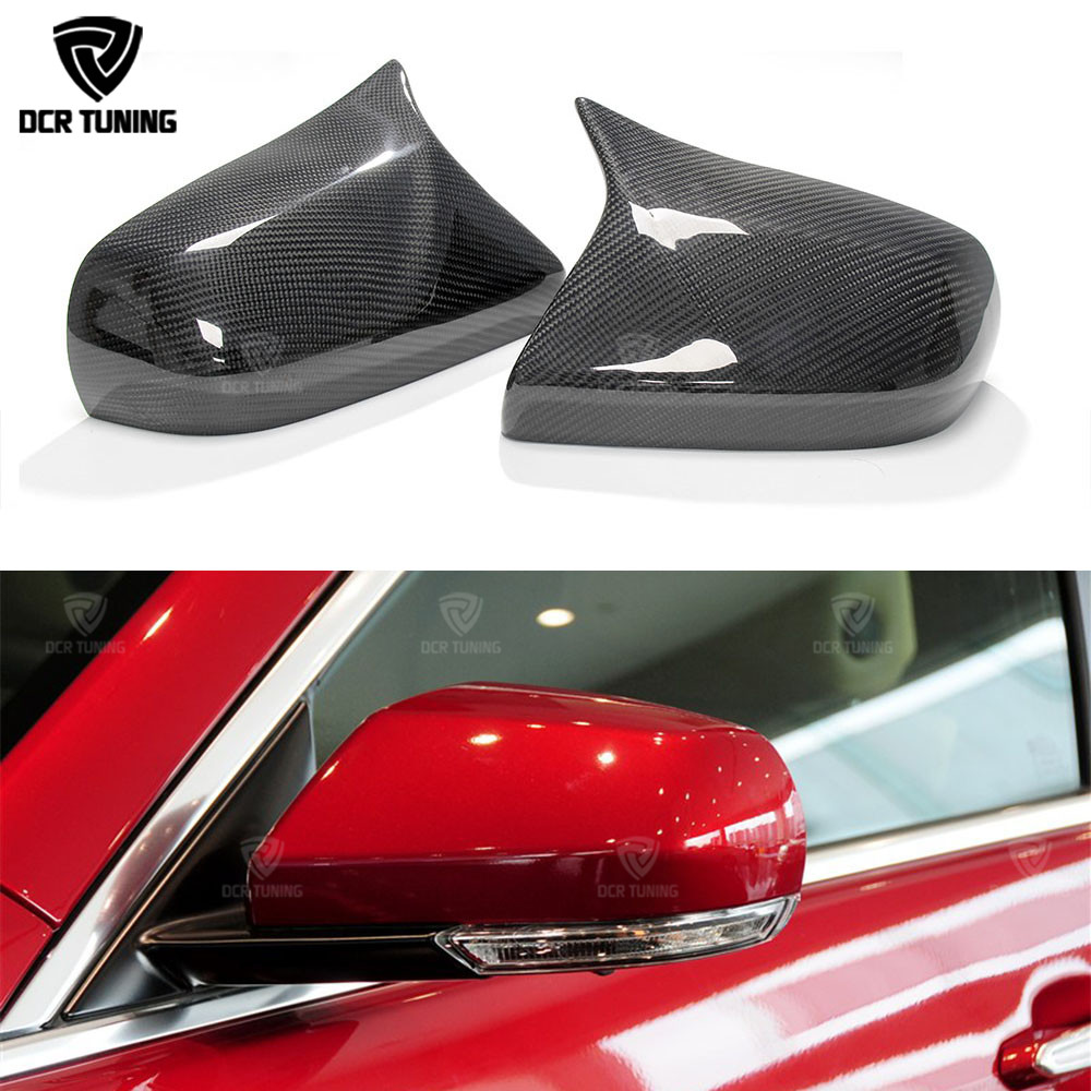 For Cadillac ATS Carbon Caps Carbon Fiber Mirror Covers M LOOK Style & 1 : 1 Replacement Style & Add On Style 2014 2015 2016-UP for cadillac ats full add on style carbon fiber mirror covers 2014 2015