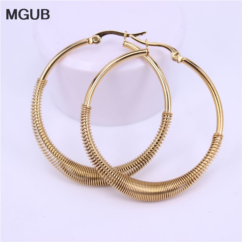 MGUB 30mm 40mm 50mm spring Round Stainless steel gold silver color female Popular jewelry earrings Special wholesale LH534