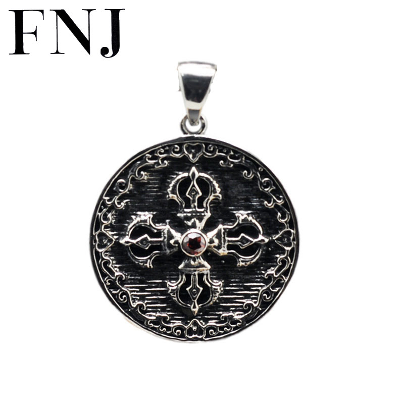Punk S925 Solid Thai Silver Pendant for Necklaces Men Women Jewelry 100% Real 925 Sterling Silver Round Cross Vajra Pendant CP09 solid silver 925 vajra pendant charms for necklace men real 925 sterling silver jewelry gothic punk style thai silver bijoux men