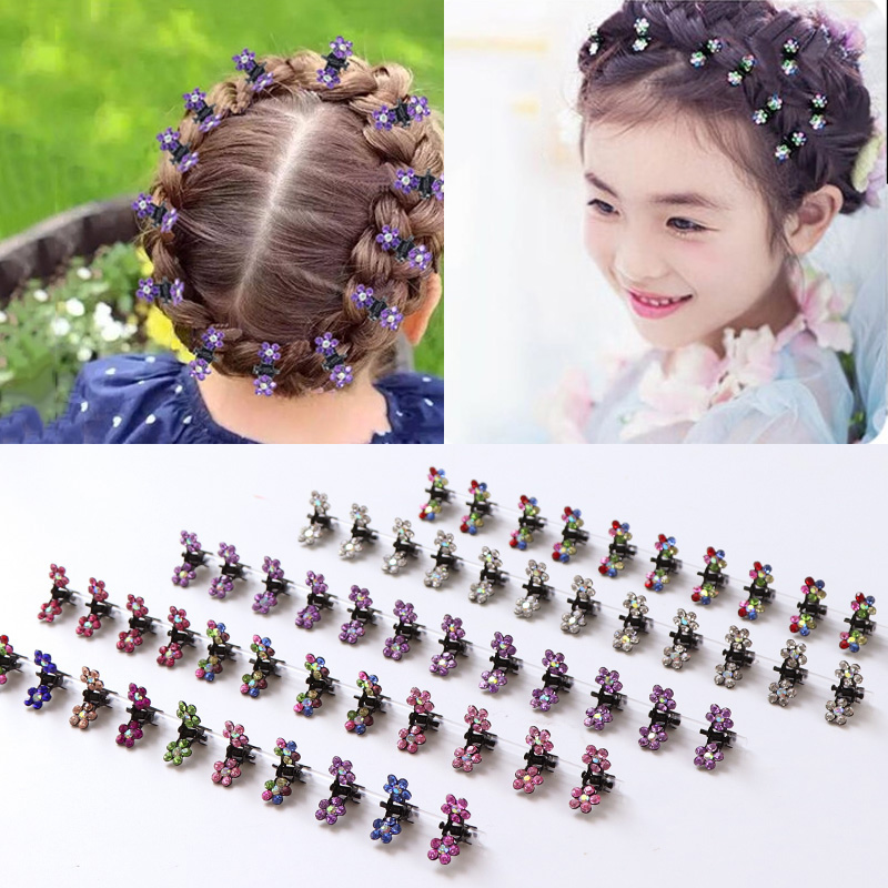 Fashion 12pcs/lot Small Cute Crystal Flowers Metal Hair Claws Hair Clips Girls Hairstyle Hairpins Hair Oranment Hair Accessories