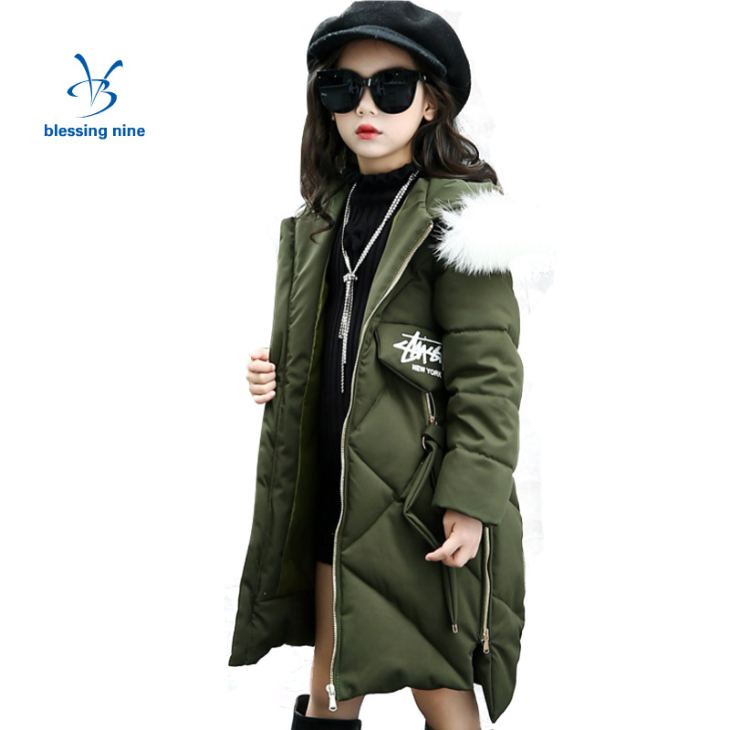 Teenager Girls Coats and Jackets With Fur Collar Hooded Kids Jacket Winter Girl Skiing Duck Down Outerwear Long Children Clothes christmas long hooded jacket girl 90% white duck down coats kids tops teenage girls winter jackets and coats children outerwears