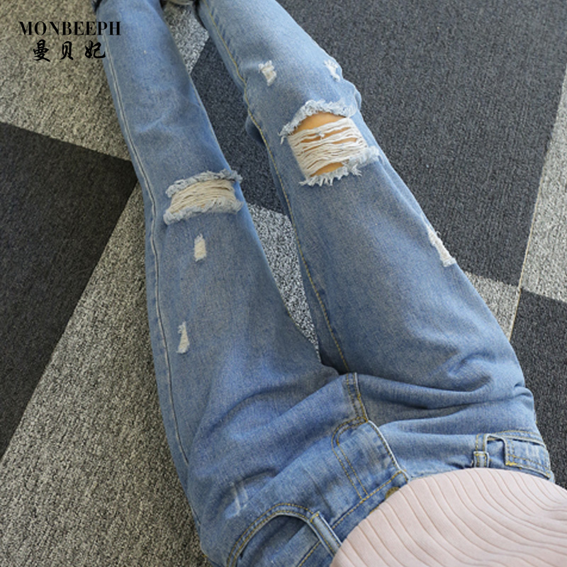 2017 Hot sale Women's ripped jeans Fashion jeans for woman Loose hole denim pants Spliced trousers