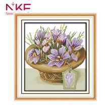 NKF A Pot of Orchids Cross Stitch Flowers Needlework Embroidery Kit 11CT 14CT DIY Handmade Wall Home Decor