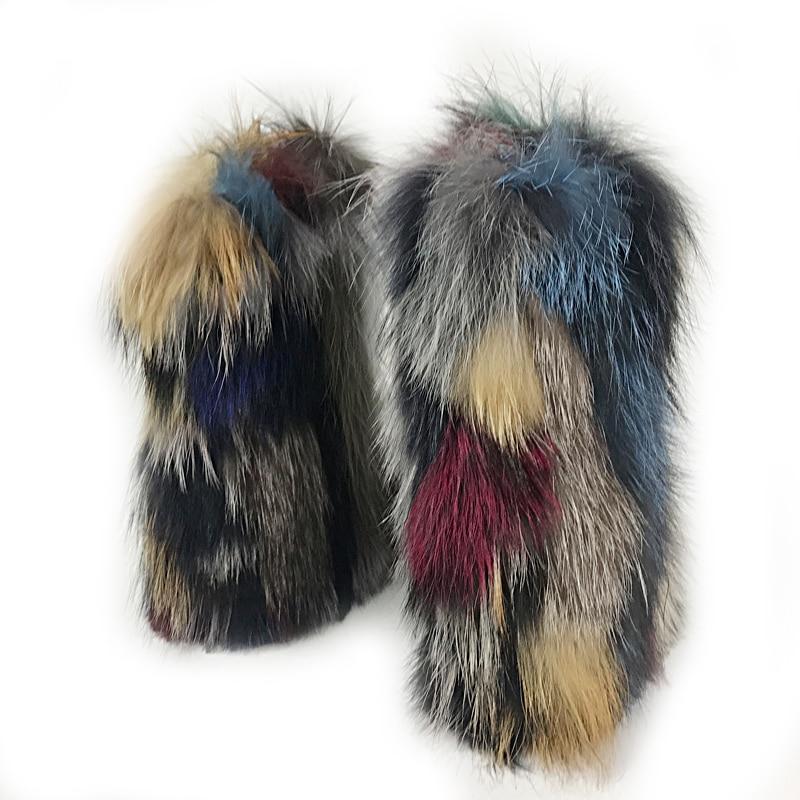 Micholediys 2018 New Arrival Handmade Winter Fox Fur Blue Snow Boots Women Thick Boots Middle Tube Women's Leisure Botas micholediys winter new arrival handmade