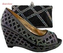Sapatos da moda italiana e sacos define para corresponder para mulheres africanas Frete Grátis, doershow, tamanho 38-42 cor preta! HJZ1-46