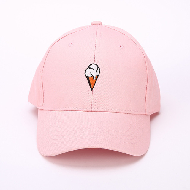 Men Women Baseball Cap With Embroidery Ice Cream Embroideried Peaked Hat  HipHop Curved Strapback Snapback Cap 4ad6af95e070