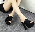Áspero con zapatillas de moda de corea del verano Atractivo del club nocturno impermeable cabeza de pescado de alta con sandalias femeninas 15 cm