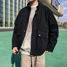 Casual Pocket Drawstring Lower Hem Stand Coloar Long Sleeve Men Jacket 2018 Autumn Solid Color Loose Male Coat Homme M-2XL