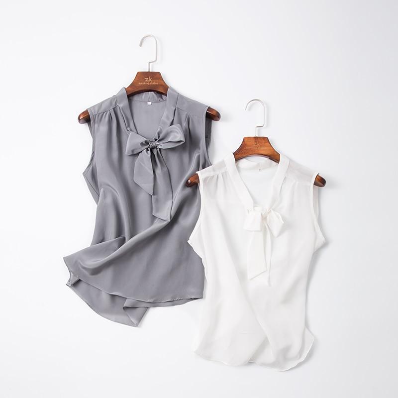 100% Natural Silk Sleeveless Top Female Summer New Arrive Silk Bow Loose Outer Wear Vest Shirt
