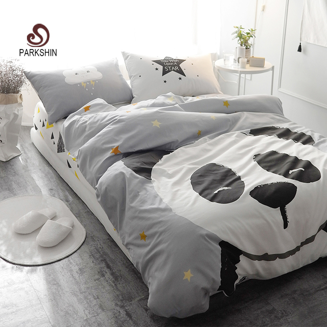 Parkshin panda printed bedding set kids gray bedspread for Housse couette foot