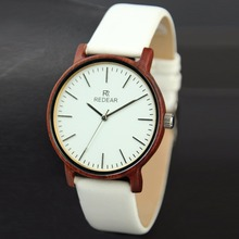 REDEAR Wood watch men women watches leather ladies clock Unisex leather watchband