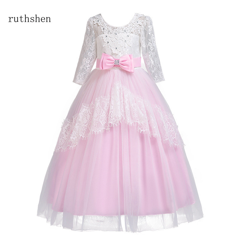 ruthshen New Arrival Real Photos Princess   Flower     Girl     Dress   Cute O Neck Little   Girl   Ball Gowns Pageant Children   Dress   2018 New
