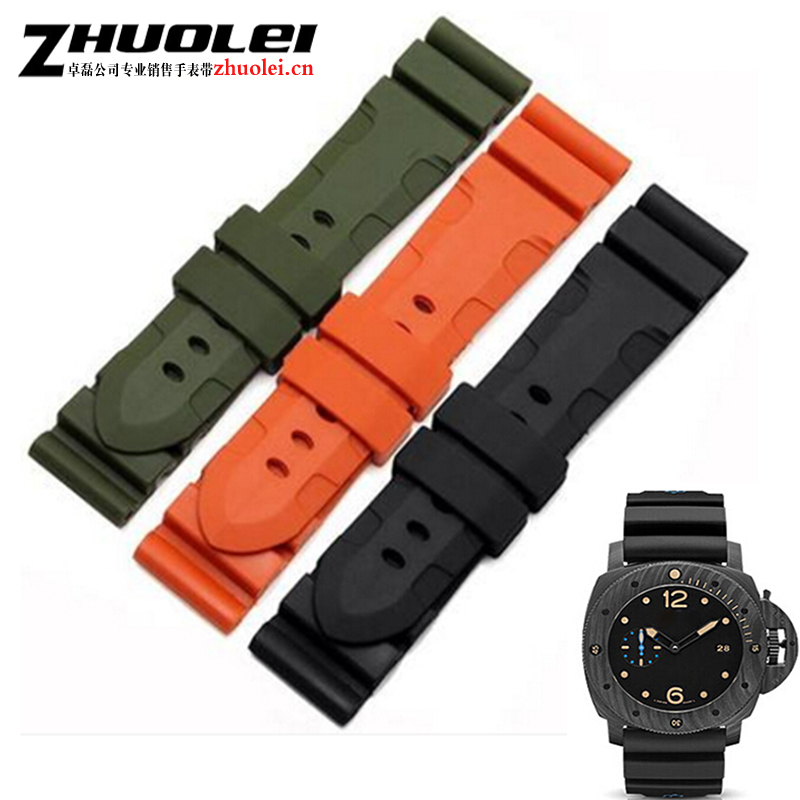 For PAM 24mm 26mm Waterproof Silicone Rubber Watch Strap Army green black orange grey With stainless steel Mate Buckle + tool