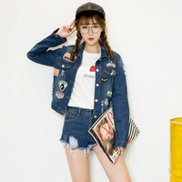 2016 Korea Loose Jeans Jacket Blouse Badge Style Denim Jacket Women Print Jackets Women Basic