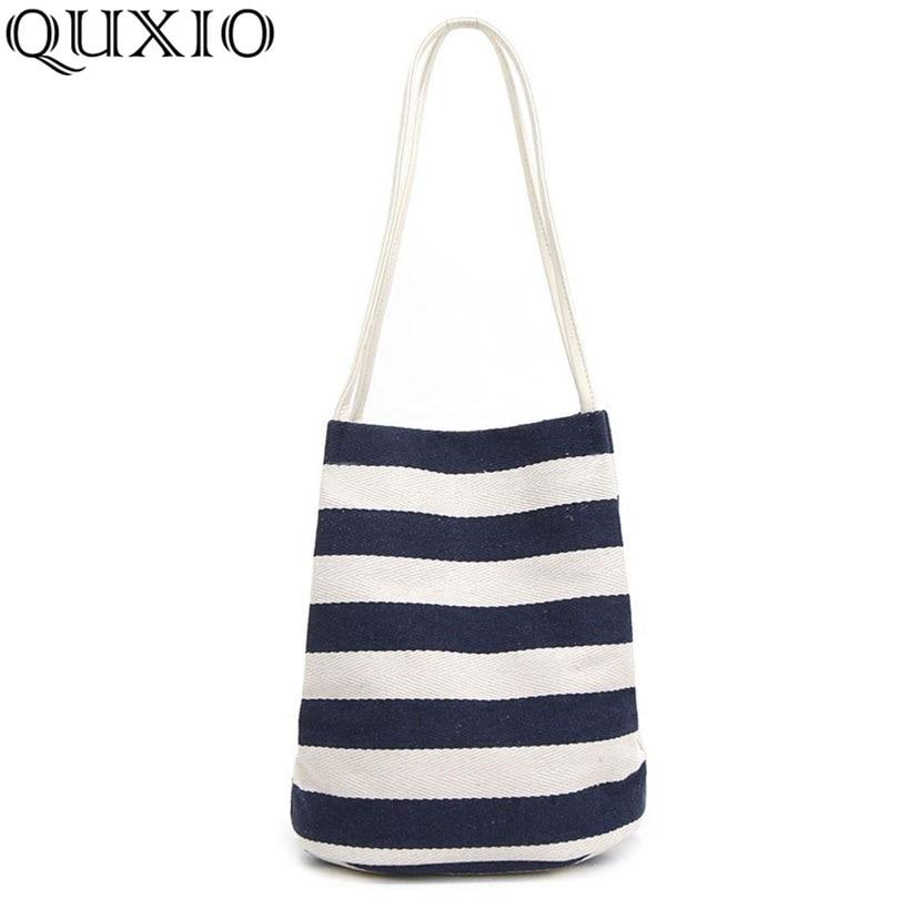 New Messenger Beach Handbag Bags Totes Women Ladies Stripes Canvas Shoulder Bag