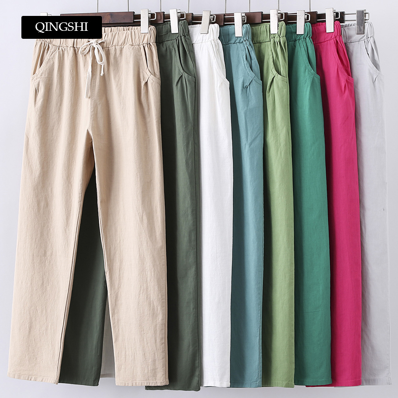 13 Colors Womens   Pants   New Cotton Linen Summer   Pants   Trousers Elastic High Waist Korean   Capris   Lightweight Harem   Pants   Plus Size