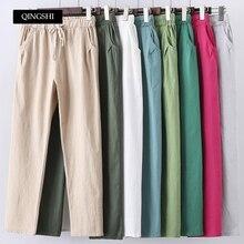 13 צבעים נשים מכנסיים חדש כותנה פשתן קיץ מכנסיים מכנסיים אלסטיות גבוהה מותניים קוריאני Capris קל הרמון מכנסיים בתוספת גודל
